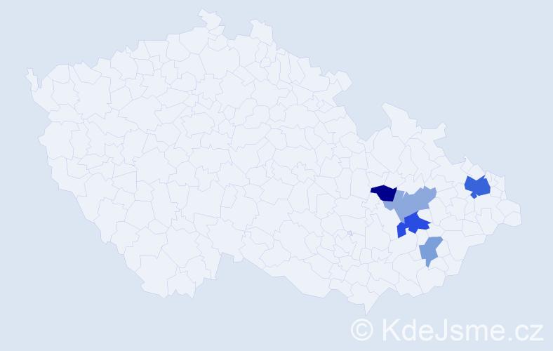 Příjmení: 'Chodílková', počet výskytů 10 v celé ČR