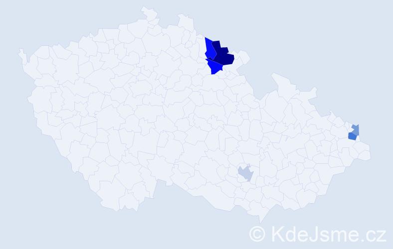 Příjmení: 'Kodenková', počet výskytů 9 v celé ČR