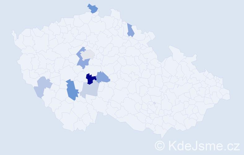 Příjmení: 'Čechotová', počet výskytů 17 v celé ČR