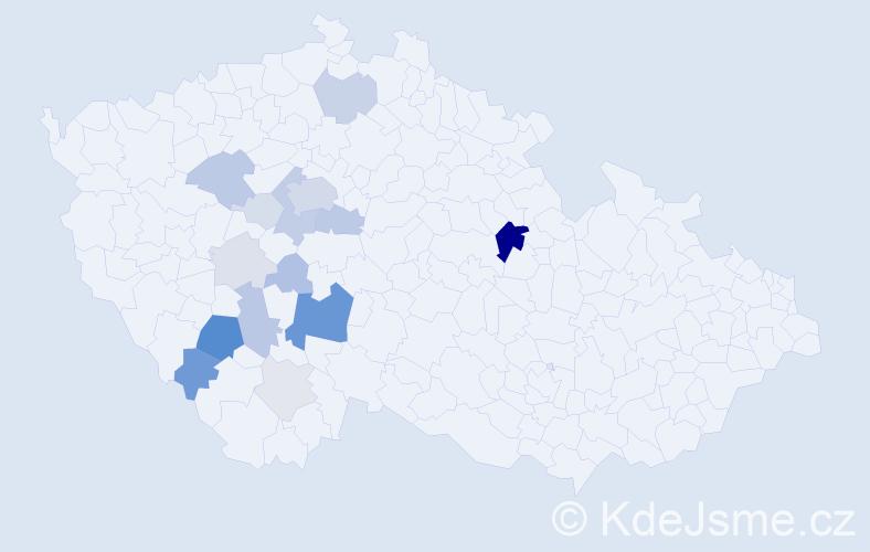 Příjmení: 'Kadochová', počet výskytů 58 v celé ČR