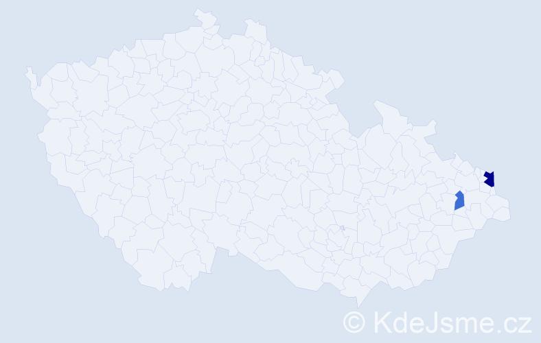 Příjmení: 'Janičáková', počet výskytů 4 v celé ČR