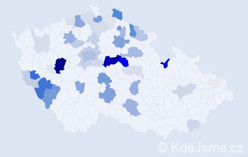 Příjmení: 'Kesner', počet výskytů 127 v celé ČR