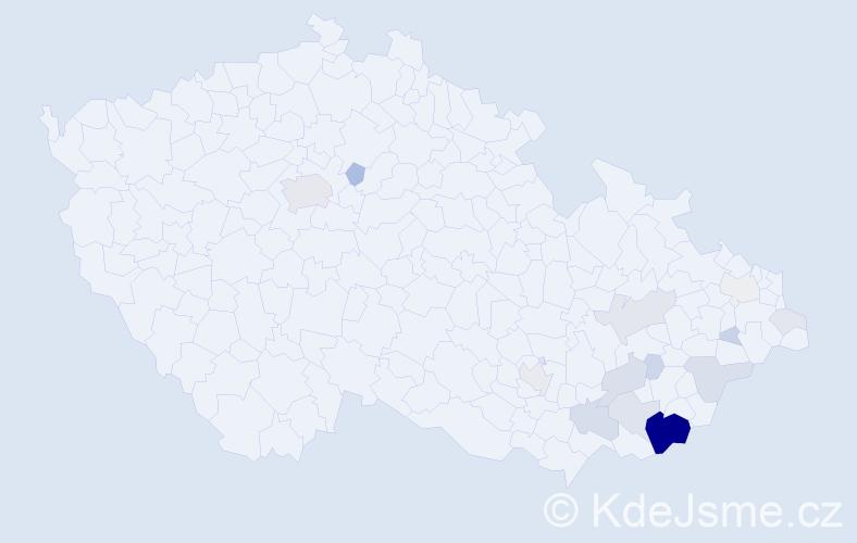 Příjmení: 'Grebíková', počet výskytů 63 v celé ČR