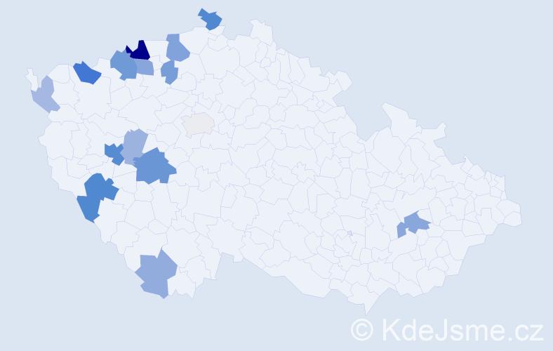 Příjmení: 'Čapík', počet výskytů 37 v celé ČR