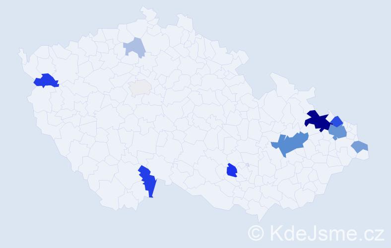 Příjmení: 'Košec', počet výskytů 38 v celé ČR
