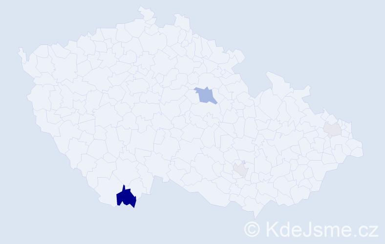 Příjmení: 'Hajdáková', počet výskytů 9 v celé ČR