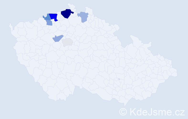 Příjmení: 'Lacl', počet výskytů 13 v celé ČR