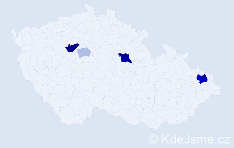 Příjmení: 'Husak', počet výskytů 5 v celé ČR