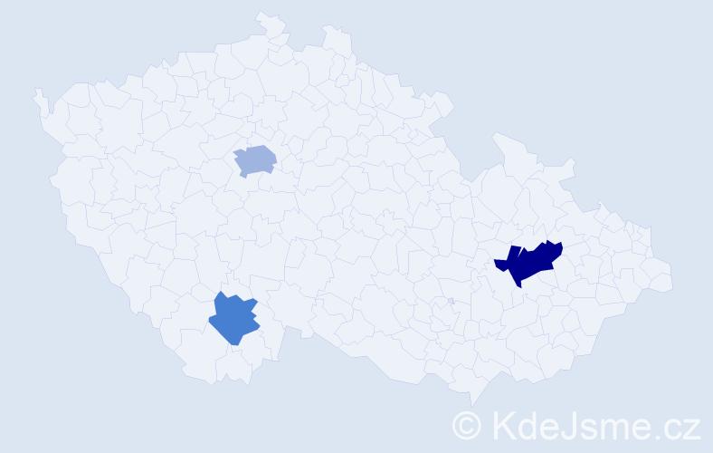 Příjmení: 'Alijeva', počet výskytů 5 v celé ČR