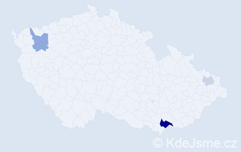 Příjmení: 'Bánsky', počet výskytů 6 v celé ČR