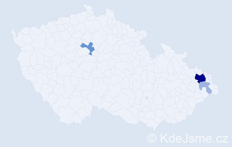 Příjmení: 'Deingruberová', počet výskytů 17 v celé ČR