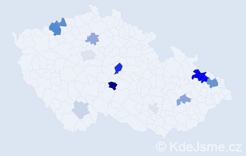 Příjmení: 'Kavecká', počet výskytů 35 v celé ČR