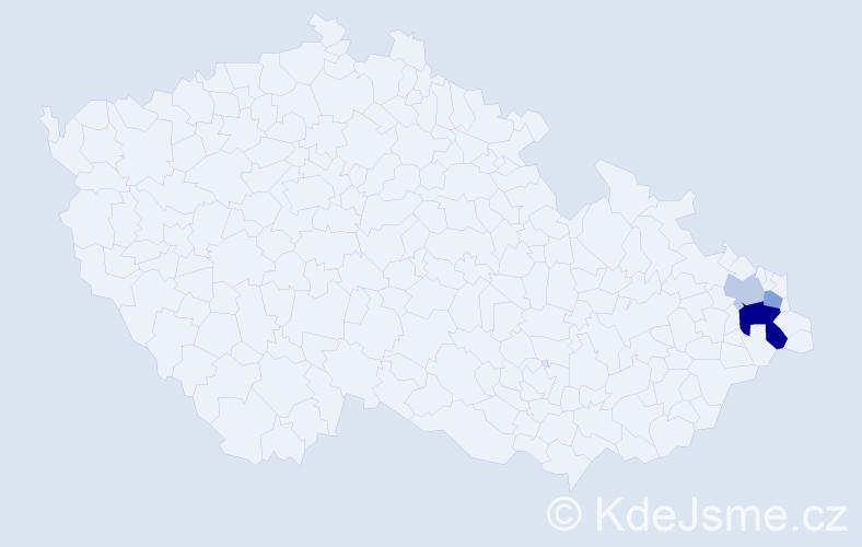 Příjmení: 'Gőzelová', počet výskytů 6 v celé ČR