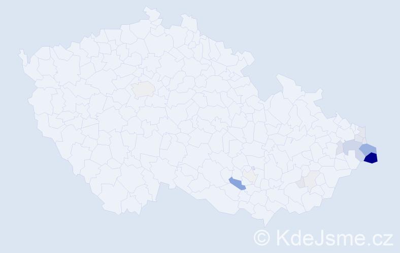 Příjmení: 'Haratyková', počet výskytů 65 v celé ČR