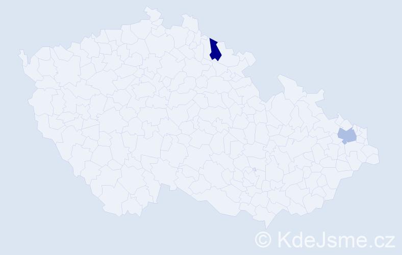 Příjmení: 'Ceĺuchová', počet výskytů 2 v celé ČR
