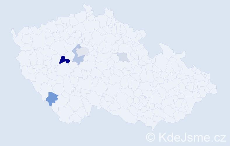 Příjmení: 'Erazímová', počet výskytů 13 v celé ČR