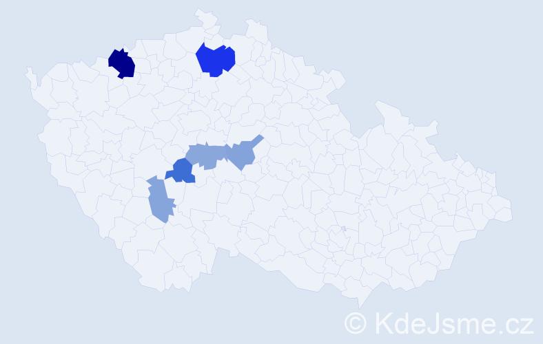 Příjmení: 'Csáno', počet výskytů 14 v celé ČR