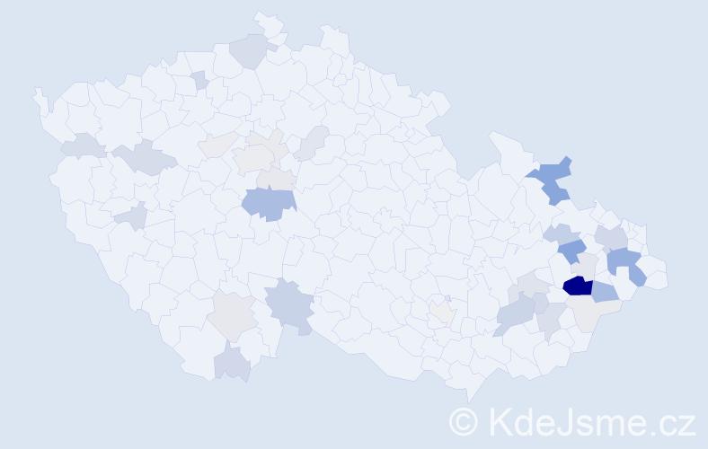 Příjmení: 'Žilinský', počet výskytů 111 v celé ČR