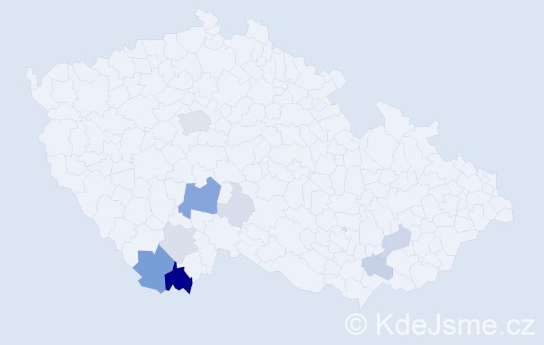 Příjmení: 'Codl', počet výskytů 37 v celé ČR