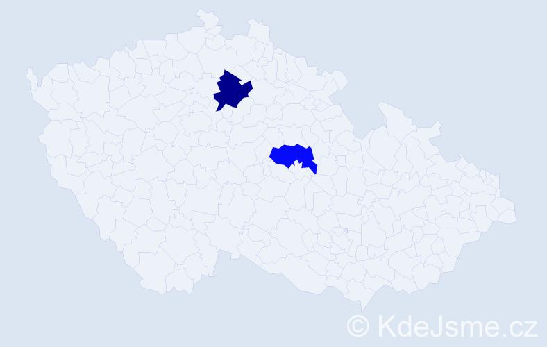 Příjmení: 'Ivas', počet výskytů 5 v celé ČR