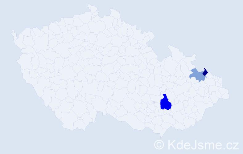 Příjmení: 'Gebešová', počet výskytů 4 v celé ČR