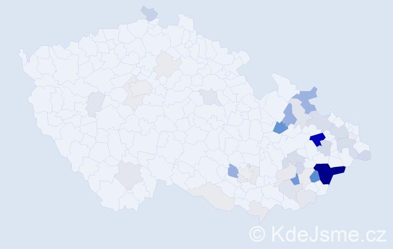 Příjmení: 'Galetková', počet výskytů 131 v celé ČR
