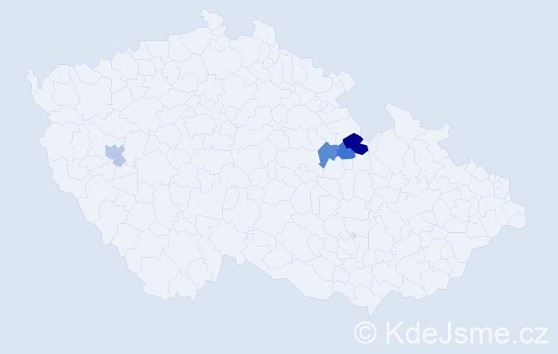 Příjmení: 'Janespal', počet výskytů 5 v celé ČR