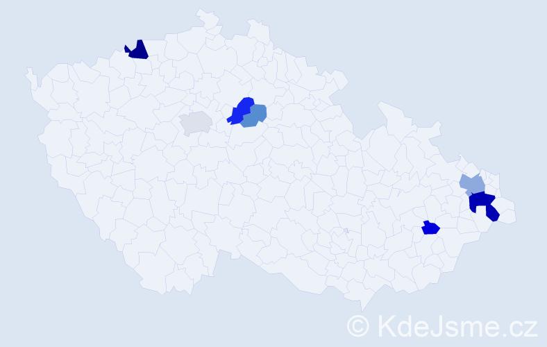 Příjmení: 'Hrabinská', počet výskytů 18 v celé ČR