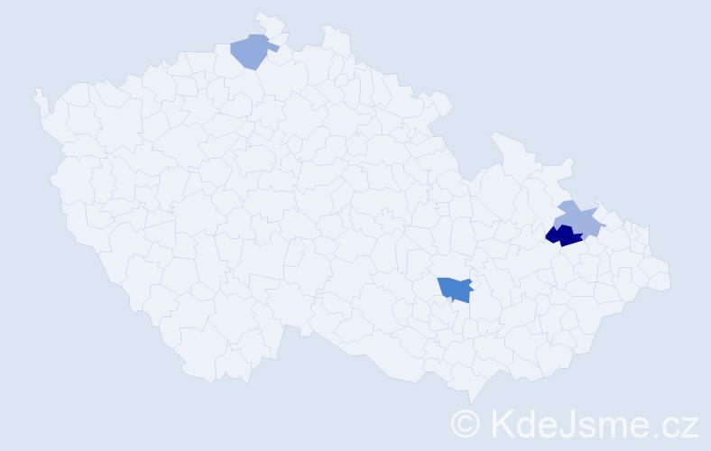 Příjmení: 'Cyrius', počet výskytů 5 v celé ČR