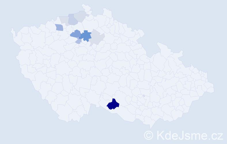 Příjmení: 'Čos', počet výskytů 21 v celé ČR