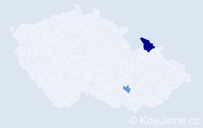 Příjmení: 'Čaňanská', počet výskytů 6 v celé ČR
