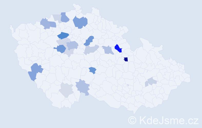 Příjmení: 'Ezrová', počet výskytů 50 v celé ČR