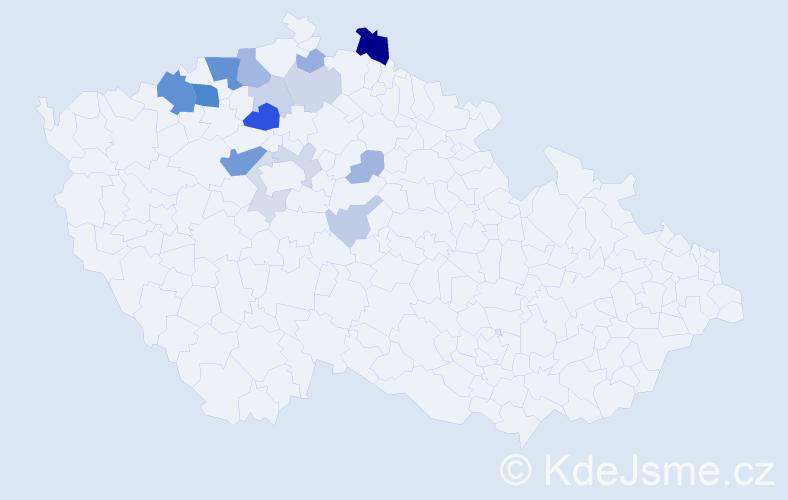 Příjmení: 'Čikala', počet výskytů 45 v celé ČR