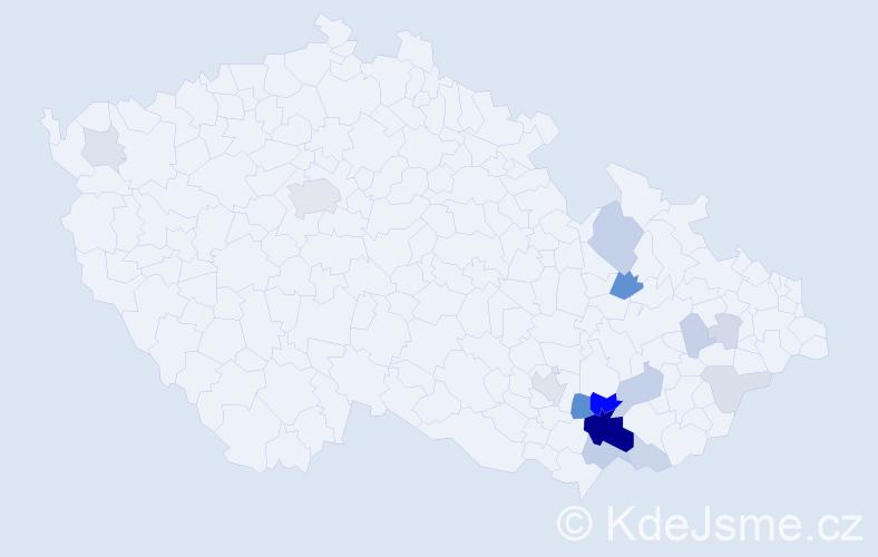 Příjmení: 'Čumbová', počet výskytů 48 v celé ČR