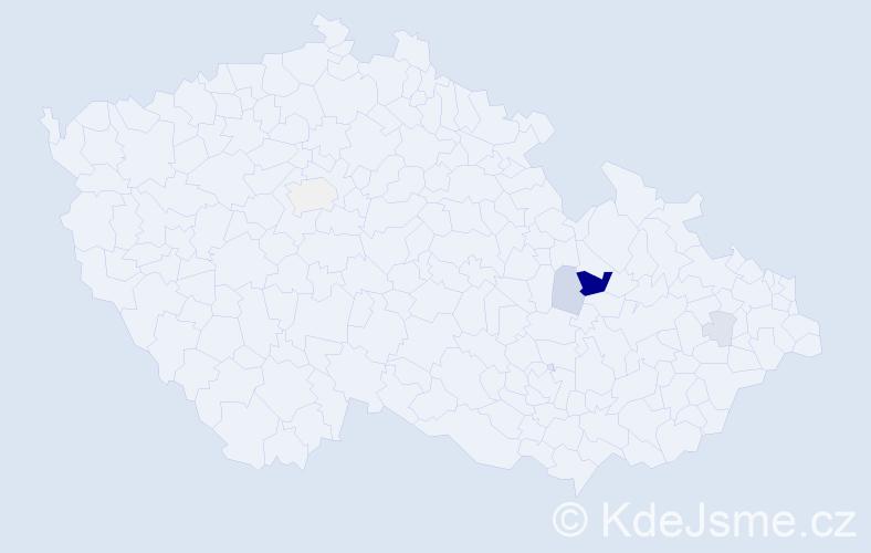 Příjmení: 'Čank', počet výskytů 13 v celé ČR