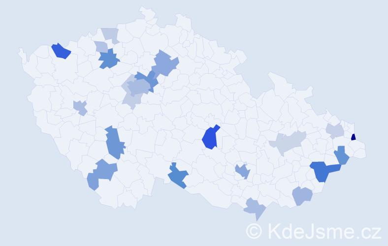 Příjmení: 'King', počet výskytů 51 v celé ČR