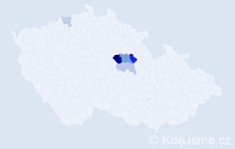 Příjmení: 'Kaltounová', počet výskytů 20 v celé ČR