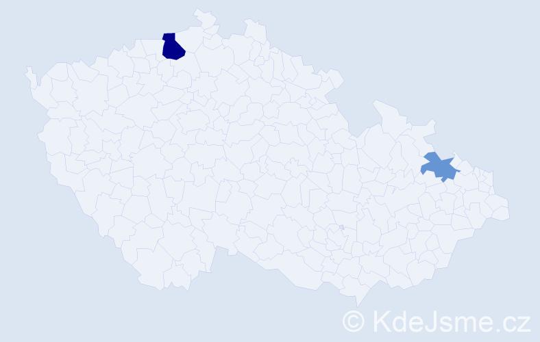 Příjmení: 'Česlák', počet výskytů 8 v celé ČR