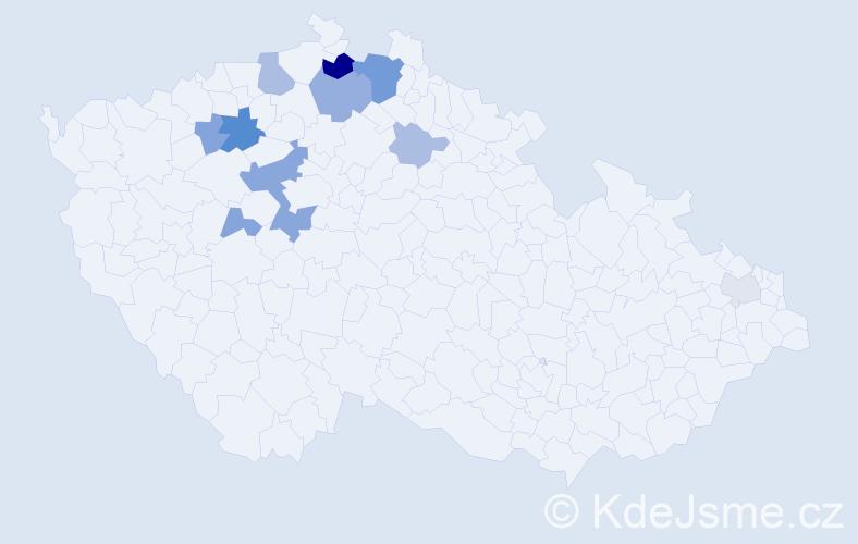 Příjmení: 'Bába', počet výskytů 27 v celé ČR