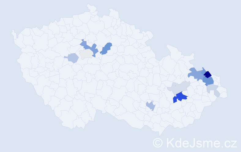 Příjmení: 'Blaštík', počet výskytů 44 v celé ČR
