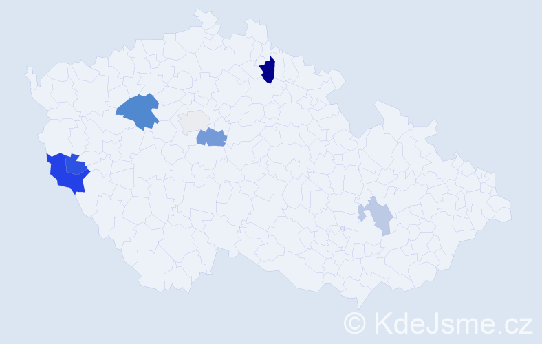 Příjmení: 'Jacák', počet výskytů 14 v celé ČR