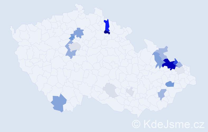 Příjmení: 'Herber', počet výskytů 79 v celé ČR