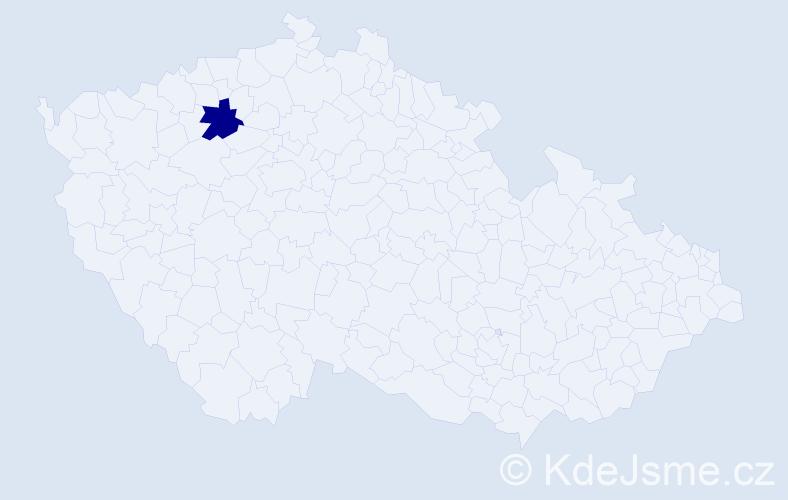 Příjmení: 'Kludaj', počet výskytů 5 v celé ČR