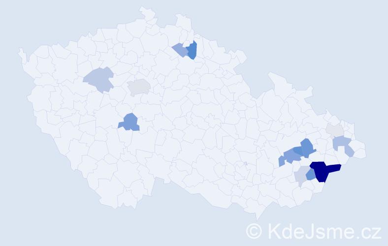 Příjmení: 'Černotíková', počet výskytů 31 v celé ČR