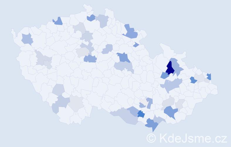 Příjmení: 'Kovačič', počet výskytů 98 v celé ČR