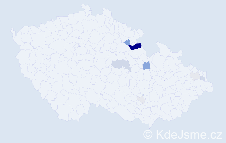Příjmení: 'Kubove', počet výskytů 10 v celé ČR