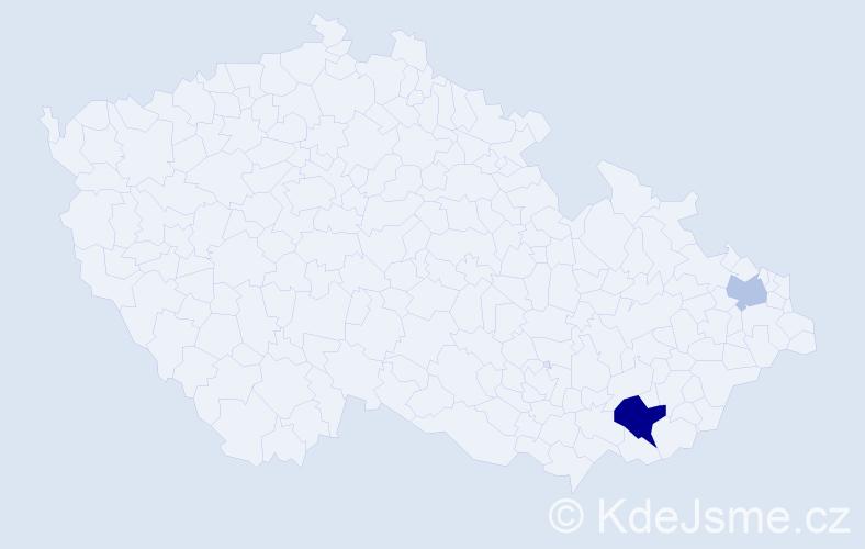 Příjmení: 'Jaluvka', počet výskytů 4 v celé ČR