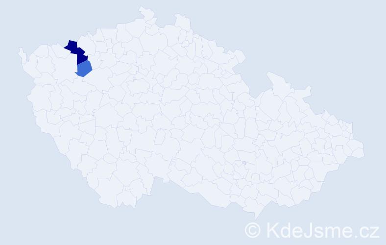 Příjmení: 'Andrašíová', počet výskytů 6 v celé ČR