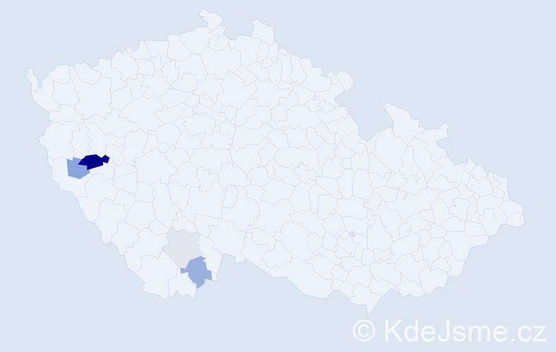 Příjmení: 'Inderholcová', počet výskytů 10 v celé ČR