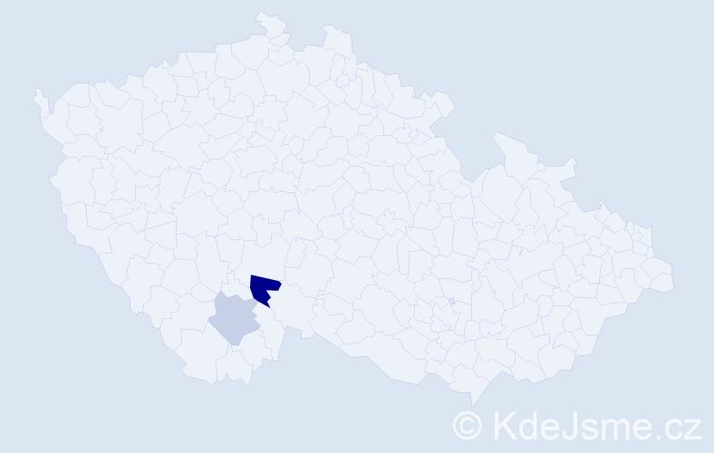 Příjmení: 'Jináčková', počet výskytů 13 v celé ČR